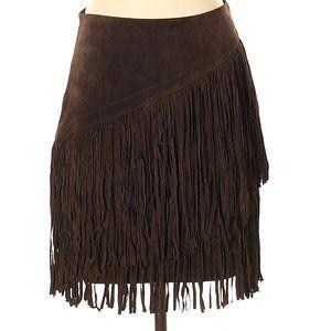 Ariat Suede Leather Fringe Short Pencil Skirt